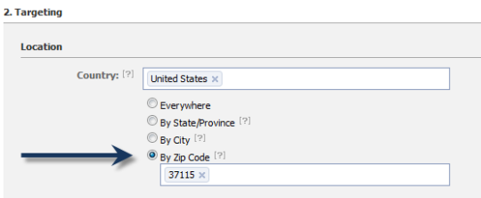 Facebook Advertising Zip code Targeting