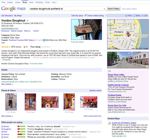 Voodoo Doughnuts Google Place Page